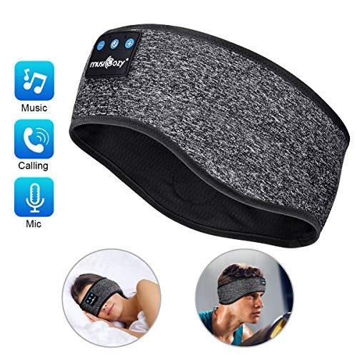 Sleep Headphones Bluetooth Sports Headband, Wireless Music Headband Headphones, IPX6 Waterproof Headphones with Mic for Sleeping Workout Running Insomnia Side Sleepers Travel AMSR Yoga Meditation