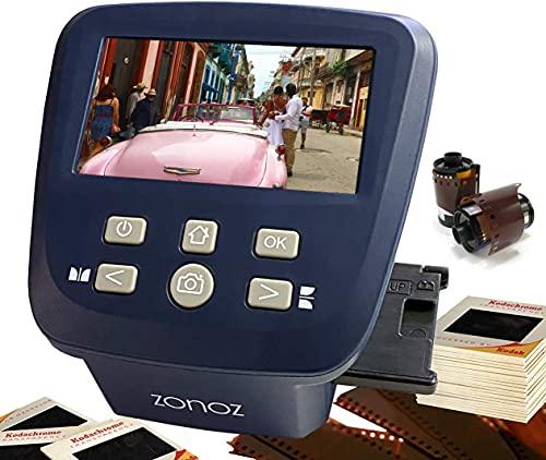 zonoz FS-5 Digital Film & Slide Scanner - Converts 35mm, 126, 110, Super 8 & 8mm Film Negatives & Slides to JPEG - Includes Large Bright 5-Inch LCD & Easy-Load Film Inserts Adapters