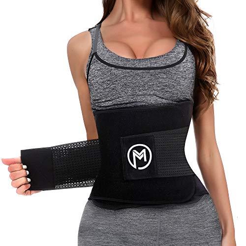 MERMAID'S MYSTERY Waist Trimmer Trainer Belt for Women Men Weight Loss Premium Neoprene Sport Sweat Workout Slimming Body Shaper Sauna Exercise Black