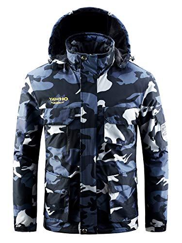 Men's Waterproof Ski Jacket Mountain Windproof Rain Snowboarding Jackets Winter Fleece Warm Snow Hooded Coat (Camouflage, 2XL)