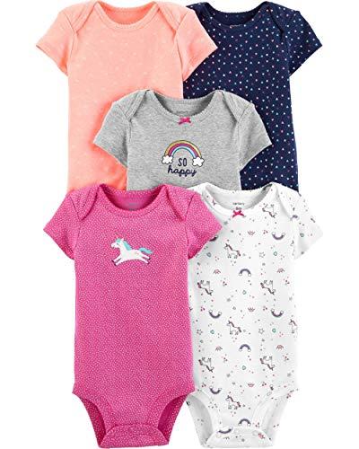Carter's Baby Girls 5 Pack Bodysuit Set, Unicorn, 3 Months