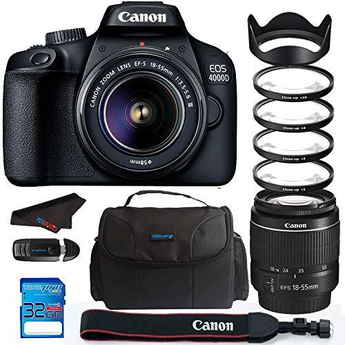 Canon EOS 4000D / Rebel T100 18.0 MP SLR - Black w/ 18-55mm DC III Lens Bundle - PixiBytes Up Close Lens Kit
