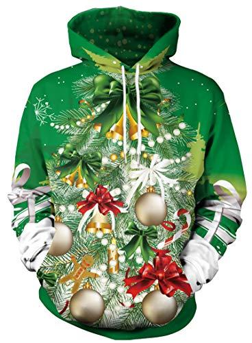 JooMeryer Unisex 3D Christmas Tree Printed Hoodies Xmas Long Sleeve Crew Neck Hooded Sweatshirts,Christmas Tree,M