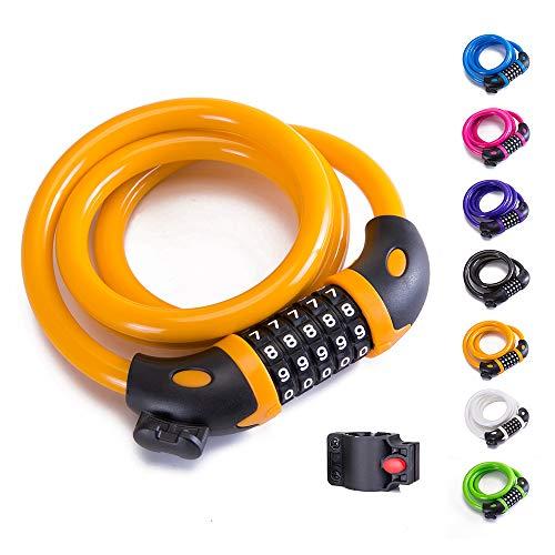 XZSUN Bike Lock Bicycle Lock Chain ,5-Digit Combination Lock Core Steel Wire Bike Lock Security&Portable Bicycle Locks,4 Feet x 1/2 inch (Orange)