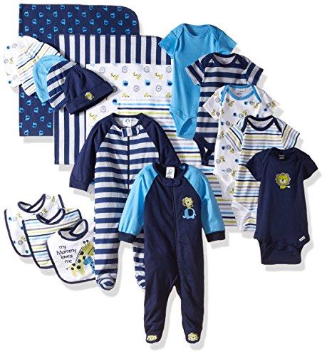 Gerber Baby Boys' 19 Piece Baby Essentials Gift Set, Safari, Newborn