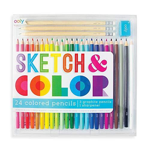 Sketch & Color - 24 Colored Pencils, 3 Graphite Pencils & 1 Sharpener