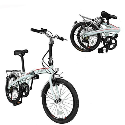 Xspec 20' 7 Speed Folding Compact City Commuter Bike, White