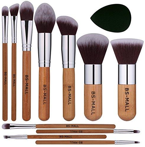 BS-MALL Makeup Brush Set 11Pcs Bamboo Synthetic Kabuki Brush Set Foundation Powder Blending Concealer Eye shadows Blush Cosmetics Brushes with Organizer Bag & Makeup Sponge…