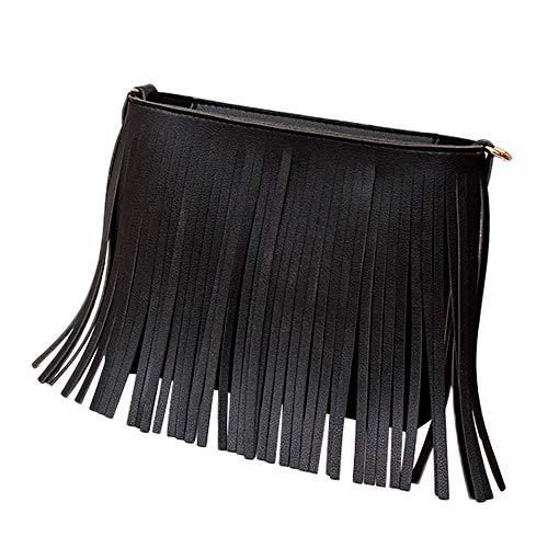 MaxFox Women Retro Shoulder Bag Tassel Leather Square Messenger Satchel Crossbody Tote Handbag for Cell Phone &Coin (Black)
