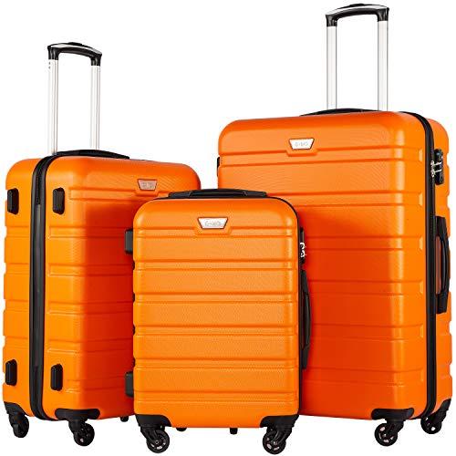 COOLIFE Luggage 3 Piece Set Suitcase Spinner Hardshell Lightweight TSA Lock (orange)