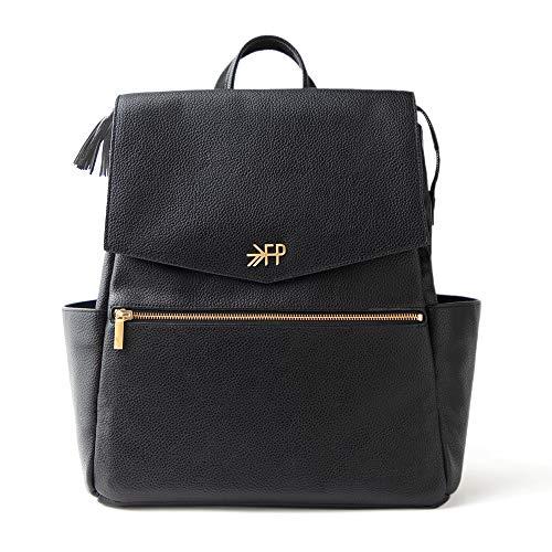Freshly Picked - Convertible Classic Diaper Bag Backpack - Large Internal Storage 10 Pockets Wipeable Vegan Leather - Ebony Black