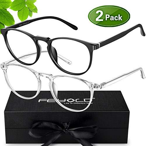 FEIYOLD Blue Light Blocking Glasses Women/Men,FDA Approved Anti Eyestrain Computer Gaming Glasses(2Pack)