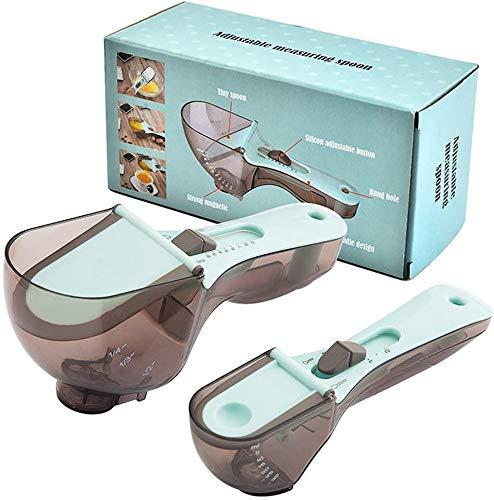 Adjustable Measuring Spoon, Large Scale Measuring Spoon Seasoning Tool Adjustable Kitchen Utensil Practical for Solid/Powder/Liquid(2pcs)