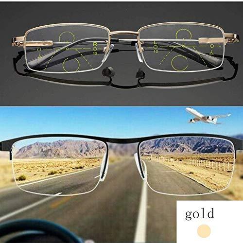JCGJ German Smart Zoom Reading Glasses, Smart Zoom Reading Glasses Multifocal Reading Glasses. (Golden, 250 °)