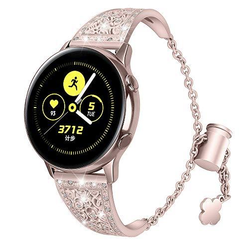 Aottom Compatible for Samsung Galaxy Watch 42mm Band 20MM Women Metal Rhinestone Diamond Chain Glitter Jewelry Bracelet Wristband Replacement Band for Samsung Galaxy Watch 42mm/Active 40mm/Gear Sport