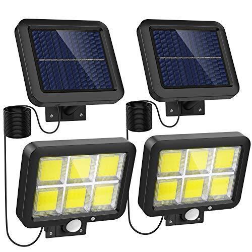Solar Lights Outdoor Motion Sensor w/ 240 Bright COB LED, 16.4Ft Cable, 3 Lighting Modes, Adjustable Panels. Wired Security Solar Powered Flood Lights for Indoor, Outside, Yard, Garden(5500K, 2 Pack)