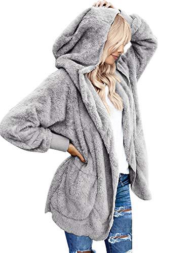 LookbookStore Women's Oversized Open Front Hooded Draped Pocket Cardigan Coat Size L (Fit US 12 - US 14) Light Grey