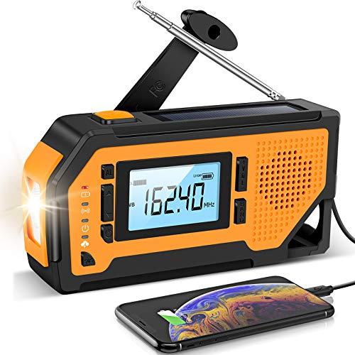 【2021 Newest】 Emergency Solar Hand Crank Radio- Aiworth AM/FM/NOAA Weather Radio, Portable Hurricane Survival Radio with LED Flashlight, Reading Lamp, 2000mAh Cell Phone Charger, SOS Alert