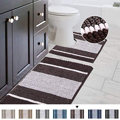 H.VERSAILTEX Bath Rug Set 2 Piece for Bathroom Non Slip Thick Chenille Bath Rugs Contour and Rectangle, Water Absorbent Microfiber Striped Pattern Shag Mats (20' x 32' Plus 20' x 20' U, Chocolate)