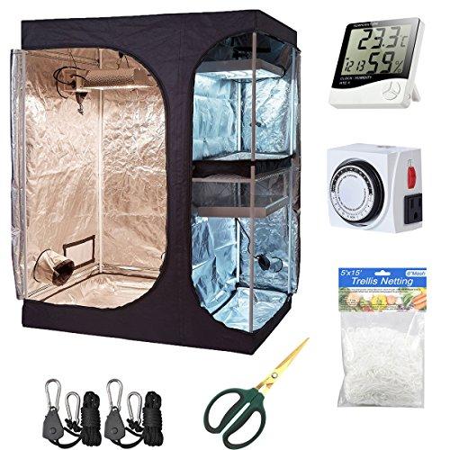 Hydro Plus Indoor Grow Kit 60''x48''x80'' Grow Tent Kit 2-in-1 Indoor Plants Growing Dark Room Non Toxic Hut + Hydroponics Growing Setup Accessories(60''x48''x80'' Tent Kit)