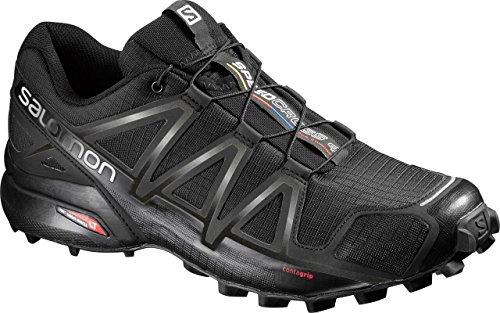 Salomon Men's Speedcross 4 Trail Running Shoes, Black/Black/BLACK METALLIC, 10.5
