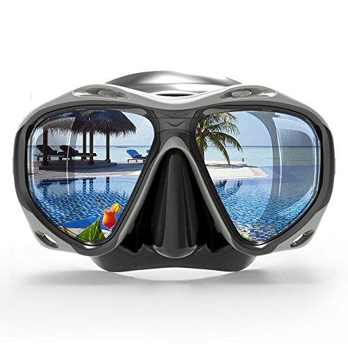 COPOZZ Scuba Mask, No Fogging Snorkeling Scuba Dive Glasses, Great Seal Free Diving Tempered Glass Mask Goggles (Black)