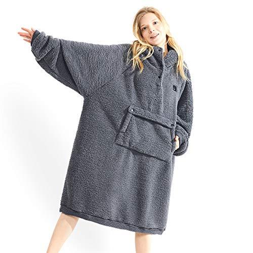 Wearable Blanket Sweatshirt,Comfortable Sweatshirt Blanket Hoodie for Women Men Adults,Oversized Hooded Blanket with Sleeves Pocket, Ultra-Soft Warm Blanket Hooded,Latest Knit Cuff Original Design