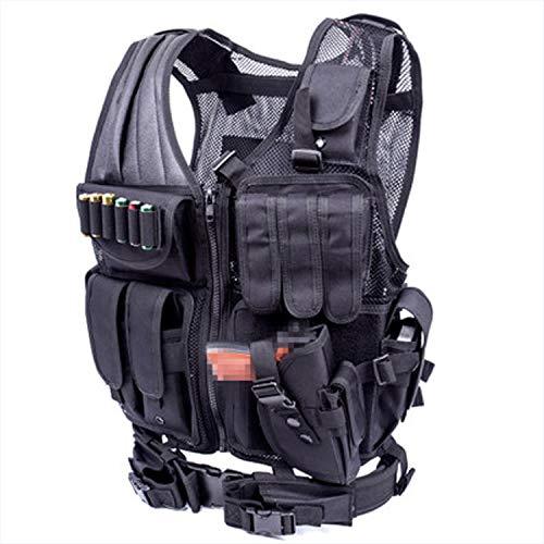 CAVWVTYU Tactical Vest for Combat Training, 600D Encryption Polyester Adjustable Modular Vest Breathable Air-Soft Paintball Vest Assault Swat Vest Assault Gear—Black