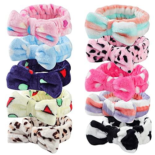 10 PCS Bow Headbands Shower Spa Headbands Head Wraps for Women Washing Face Hair Band