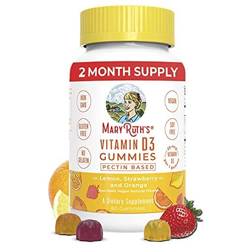 Kids Vitamin D3 Gummies by MaryRuth's, Plant Based from Lichen, Non-GMO, Vegan, Gluten Free, 2 Month Supply (60 Gummies)