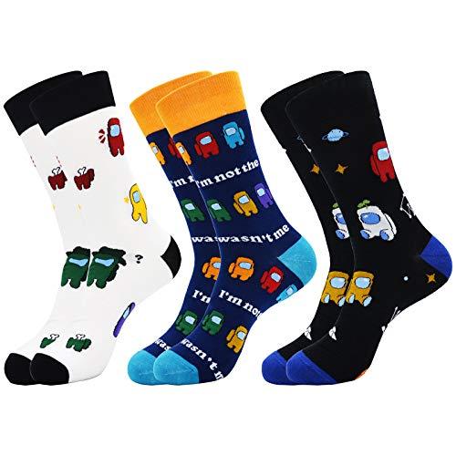 VoTii Game Socks for Men, Impostor Socks Novelty Funny Crazy Socks Pack of 3