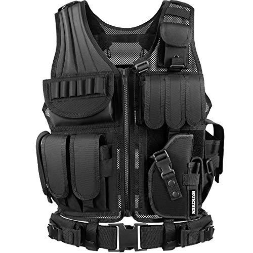 HUNTSEN Tactical Vest for Men Tactical Vest Lightweight Adjustable Outdoor Training Vest Breathable Adults with Detachable Belt