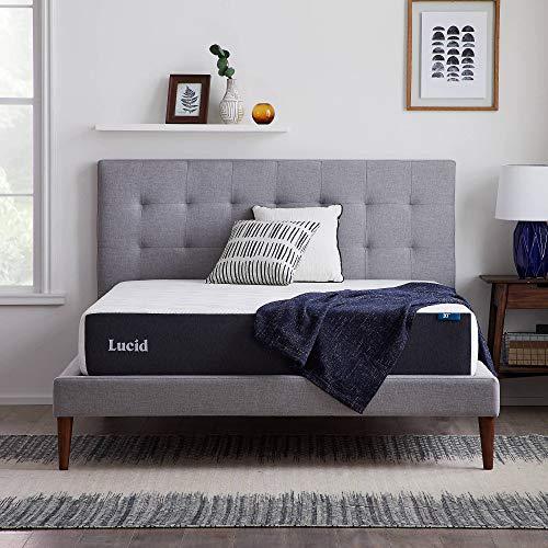 LUCID 10 Inch 2020 Gel Memory Foam Mattress - Medium Plush Feel - CertiPUR-US Certified - Hypoallergenic Bamboo Charcoal - Twin