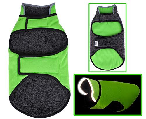 Dog Winter Coat Warm Reflective Reversible Soft Large Jacket,XL Green