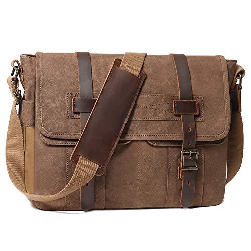 Messenger Bag for Men 15.6 Inch Rugged Waxed Canvas Laptop Bag Waterproof Genuine Leather Briefcase Satchel Bags for Men Large Computer Work Bag, Brown