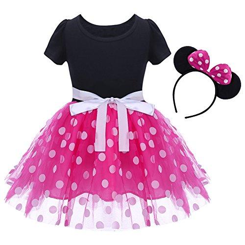 IBTOM CASTLE Baby Girls' Polka Dots Leotard Christmas Birthday Fancy Dance Costume Cosplay Tutu Dress Up with 3D Ears Headband Pink 18-24 Months