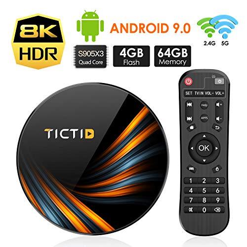 Android 9.0 TV Box 4GB RAM 64GB ROM, TICTID TX6 Plus Android TV Box S905X3 Quad-Core 64bit with 8K4K UHD H.265 1000M RJ45 Dual-WiFi 5G/2.4G, BT 4.0, USB 3.0 Smart TV Box