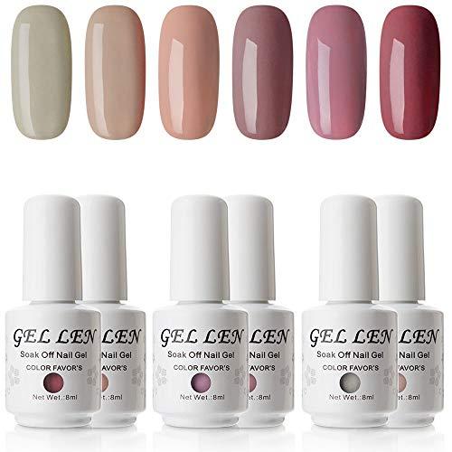 Gellen Gel Nail Polish Set - Popular Nudes Series 6 Colors UV LED Soak Off Nail Gel Manicure Kit