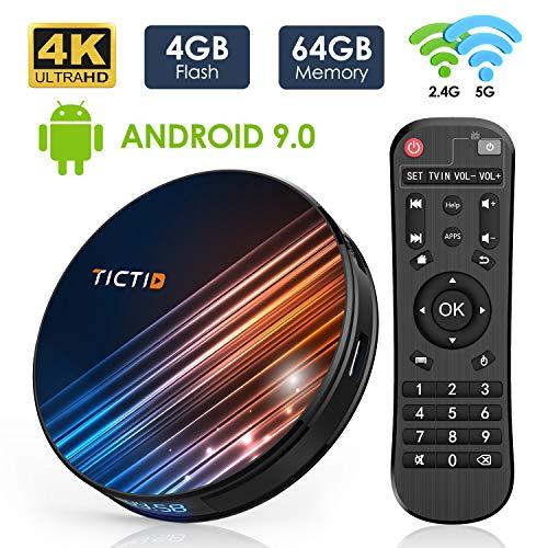 Android 9.0 TV Box 4GB RAM 64GB ROM, TICTID Android TV Box RK3318 Quad-Core 64bit with Dual-WiFi 5G/2.4G, BT 4.0, 4K2K UHD H.265, USB 3.0 Smart TV Box