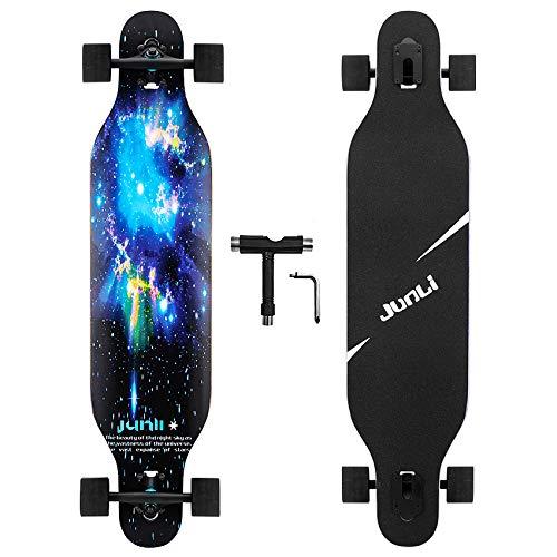 Junli 41 Inch Freeride Longboard Skateboard - Skateboard Cruiser for Cruising, Carving and Downhill(Starlit Night)
