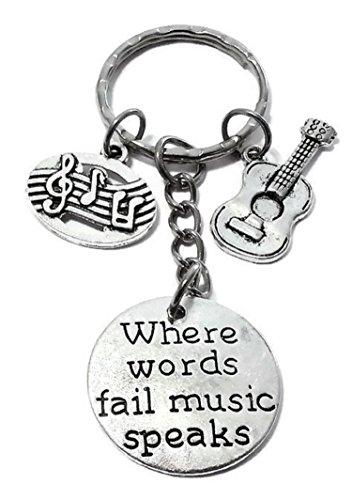 Kit's Kiss Guitar Keychain Electric Guitar Keychain Violin Keychain Cello Keychain Music Keychain Music Note Musical Instrument Music Teacher Gift Music Lover Gift Guitar Key Ring (Guitar Keychain)