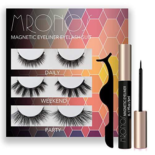 MRONOS Magnetic Eyelash and Eyeliner Kit,3 Styles Upgraded 3D Magnetic False Eyelashes Set,With Reusable Lashes 3 Pairs
