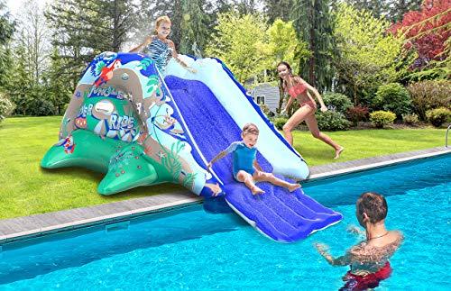 JungleRiverRide Multi-Sprinkler Inflatable Pool Slides for Inground Pools - 9 FT Long Inflatable Slide for Pool - Sturdy Blow Up Water Slide for Pool - Inflatable Pool Slide for Kids of All Ages