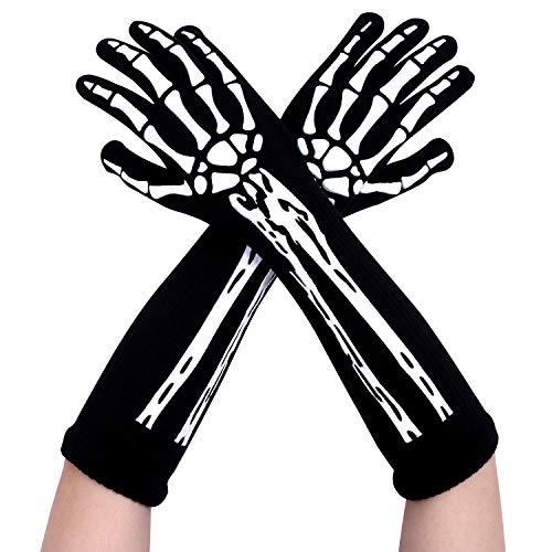 Motarto 3 Pair Halloween Unisex Full Finger Skeleton Gloves Glow in the Dark Costume Gloves