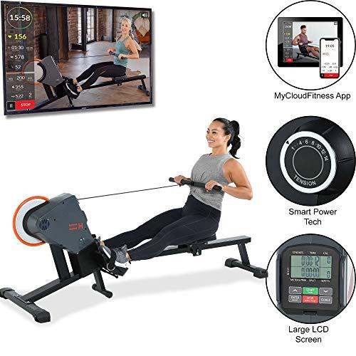 Women's Health Men's Health Bluetooth Rower Rowing Machine with MyCloudFitness App, Black
