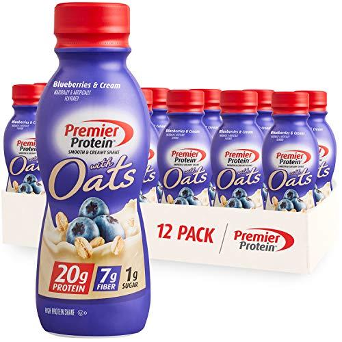 Premier Protein Shake with Oats, Blueberries & Cream, 20g Protein, 7g Fiber, 1g Sugar, 24 Vitamins & Minerals, Smooth & Creamy Breakfast Drink 11.5 fl oz, 12 Pack