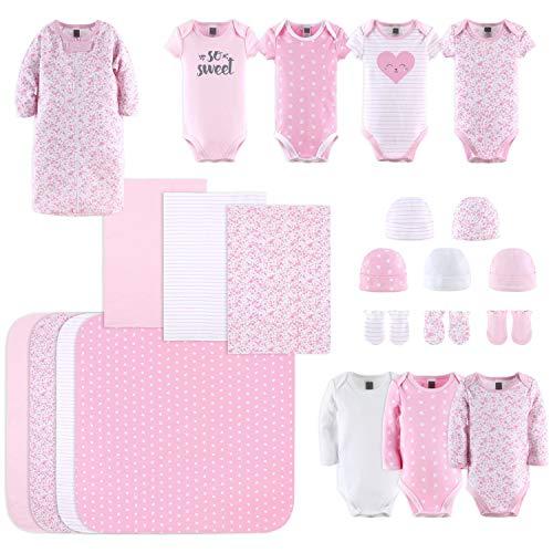 The Peanutshell Newborn Layette Gift Set for Baby Girls   23 Piece Newborn Girl Clothes & Accessories Set   Fits Newborn to 3 Months   Floral Pink