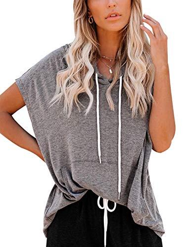Vivitulip Women's Short Sleeve Tops Casual Loose Fit Pocket Tunics Hoodies Shirts (Charcoal, X-Large)