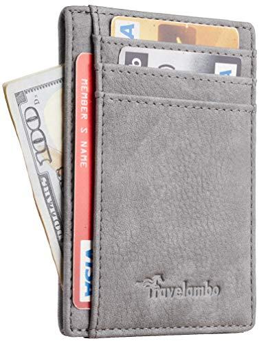 Travelambo Front Pocket Minimalist Leather Slim Wallet RFID Blocking Medium Size(OD Grey)