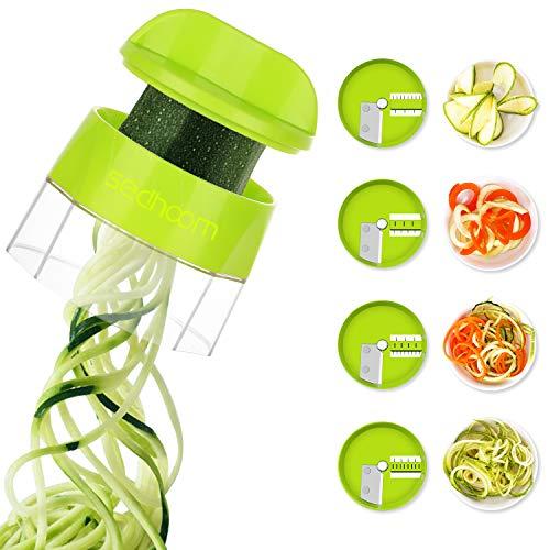 Spiralizer Zucchini Spiraler Veggie Spiralizer Sedhoom 4 in 1 Spiralizer Noodle Maker Vegetable Spiralizer Handheld Spiralizer Spiralizer Vegetable Slicer Zoodler Spiralizer Handheld Great for Salad